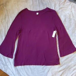 NWT Old Navy Sz L Bell Sleeve Ribbed Tee